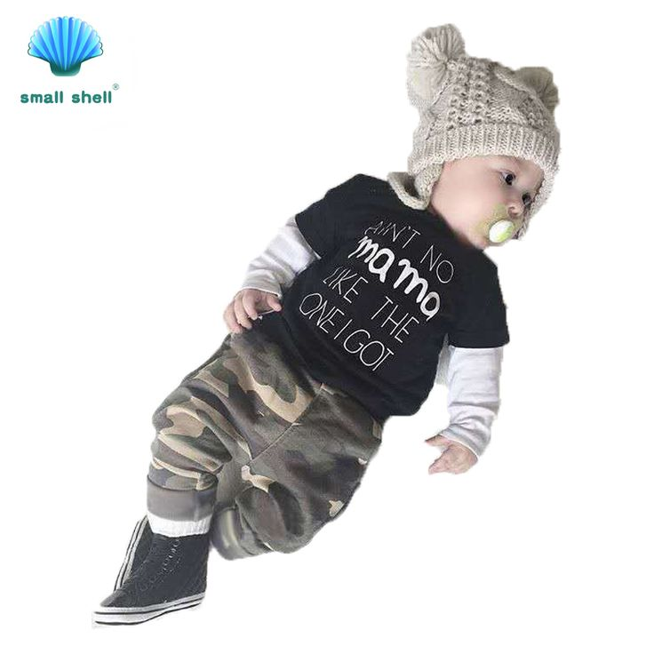 SMALL SHELL 2017 Fashion style Baby Boys Summer brand Clothing Sets Fashion T-shirt + camouflage trousers kids clothes Suit