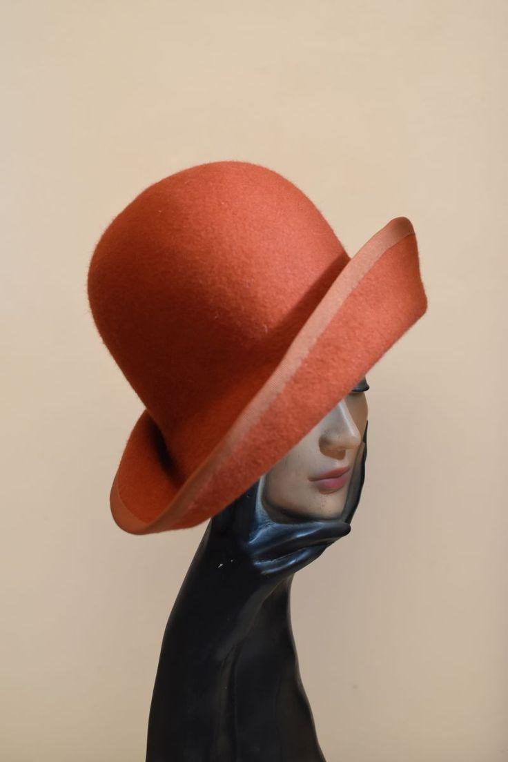 workshop result with Angelika Löbering  warm orange newest felt hat creation www.soelegant-bynina.com