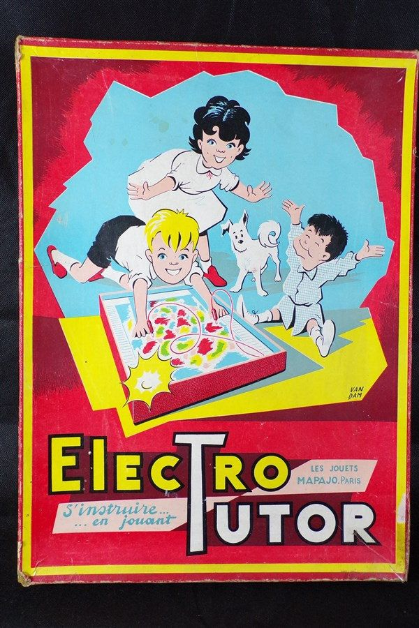 Jeu vintage electro tutor jouets mapajo paris graphisme Van Dam départements de France carte routière vintage France de la boutique decobrock sur Etsy