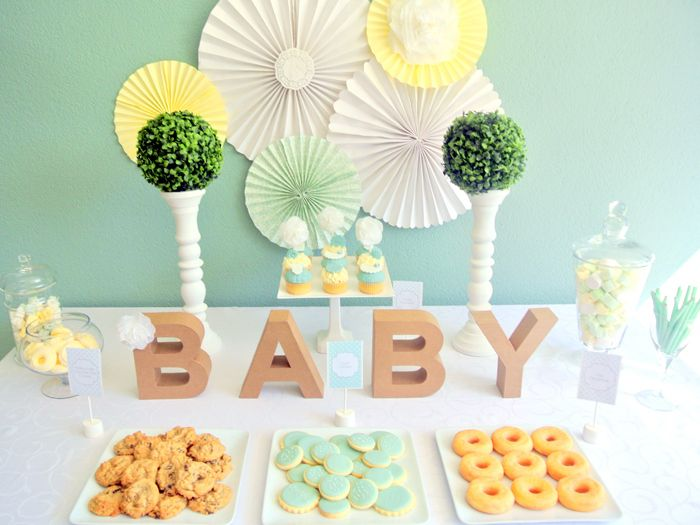 Gender Neutral Mint & Yellow Baby Shower Dessert table