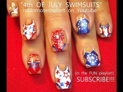 Nail Art Tutorial | DIY 4th of july nails | Swimsuit Nail Design Red white and blue - http://www.nailtech6.com/nail-art-tutorial-diy-4th-of-july-nails-swimsuit-nail-design-red-white-and-blue/