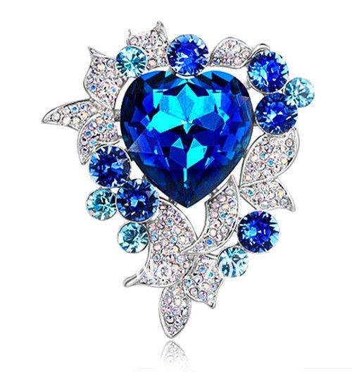 Brooch Royal Blue Crystal Wedding Prom Party Gift Jewelry Alternative ...