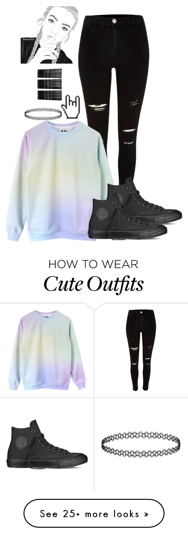 """""""Tumblr Girl inspired outfit"""" by marleen03 on Polyvore featuring Converse and Monki"""