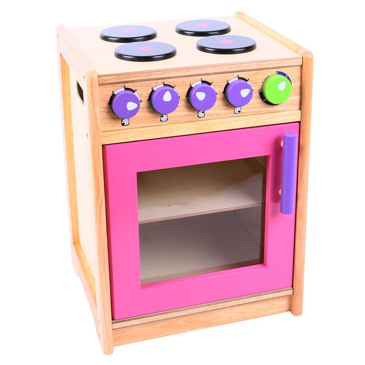 At the heart of the play kitchen, this best selling wooden cooker is brightly finished with knobs you can twist, plus a four ring hob and a two shelf oven. In fact, all it lacks is a budding young chef who can cook a special treat for Mum or Dad ! Ideal for learning all about kitchen safety as well as for fun role play sessions. Ages 3 years and up. 1 play piece. Requires adult assembly. http://shop.bigjigstoys.co.uk/p/pink-green-cooker