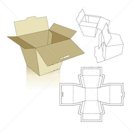 Overlap cardboard box template