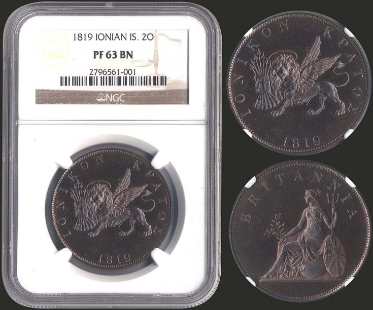 "2 Obols (1819) in copper with ""Seated Britannia"". Without dot after date. Inside slab by NGC ""PF 63 BN"". (Hellas I.18)."