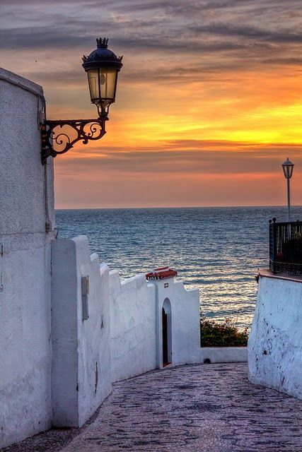 Mediterranean sunset in Nerja, Spain - Nerja is a municipality on the