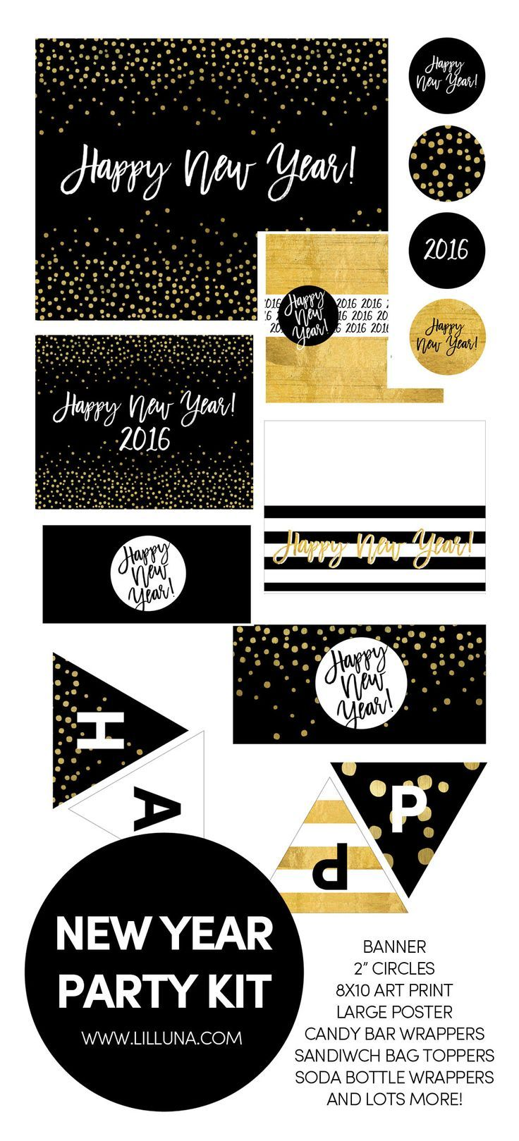FREE New Year Party Kit Printables! All the fun prints you need for your New Year's party - a banner, toppers, poster, and more!