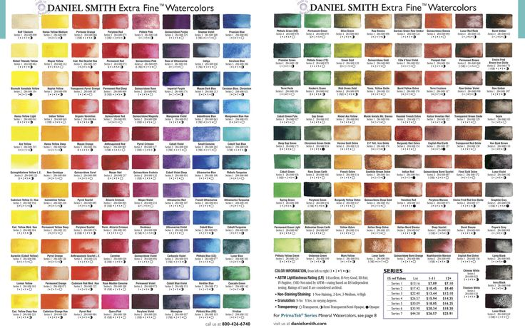 Primary Daniel Smith Watercolor Color Chart Watercolor