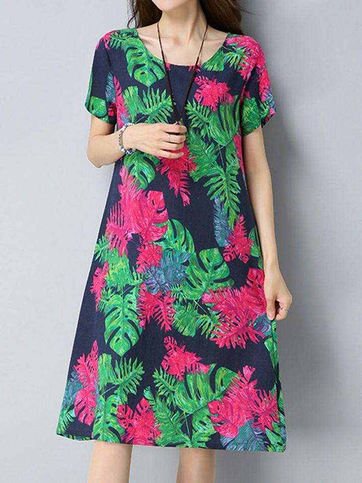 Vintage Damen Blumendruck Kleid Kurzarmtaschen Baumwoll Leinen Kleides