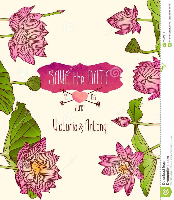Plantilla De La Invitación De La Boda Con Las Flores De Loto Rosadas Ilustración del Vector - Imagen: 57853026
