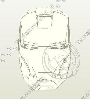 Iron Man Pepakura Helmet 3D Model - 3D Model