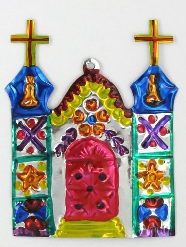 "TIN ORNAMENT ""CATHEDRAL W/ BELLS"" MEXICAN FOLK ART!"