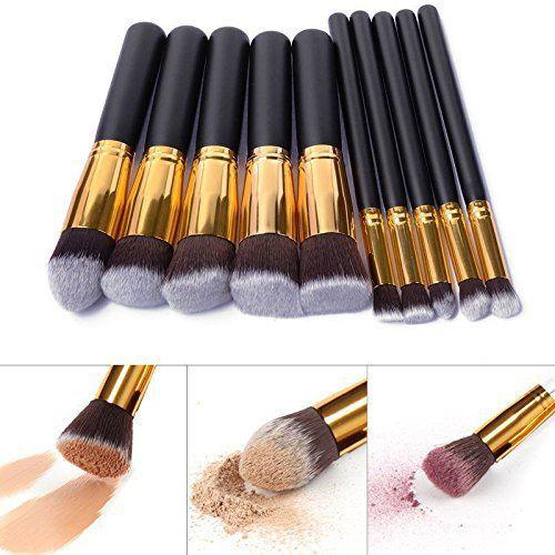 Eleacc Lot de 10pinceaux de maquillage kabuki pour poudre/ombre à paupières/fond de teint: Caractéristiques–Matériau: Poils de chèvre,…