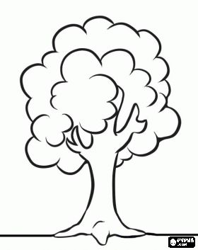 simple tree coloring page have children color then ink thumbfinger print fruit - Coloring Pages Simple