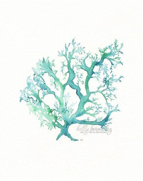 No.1 Sea Coral / watercolor print / teal / light green / aqua / sea / ocean life /. $19.00, via Etsy.