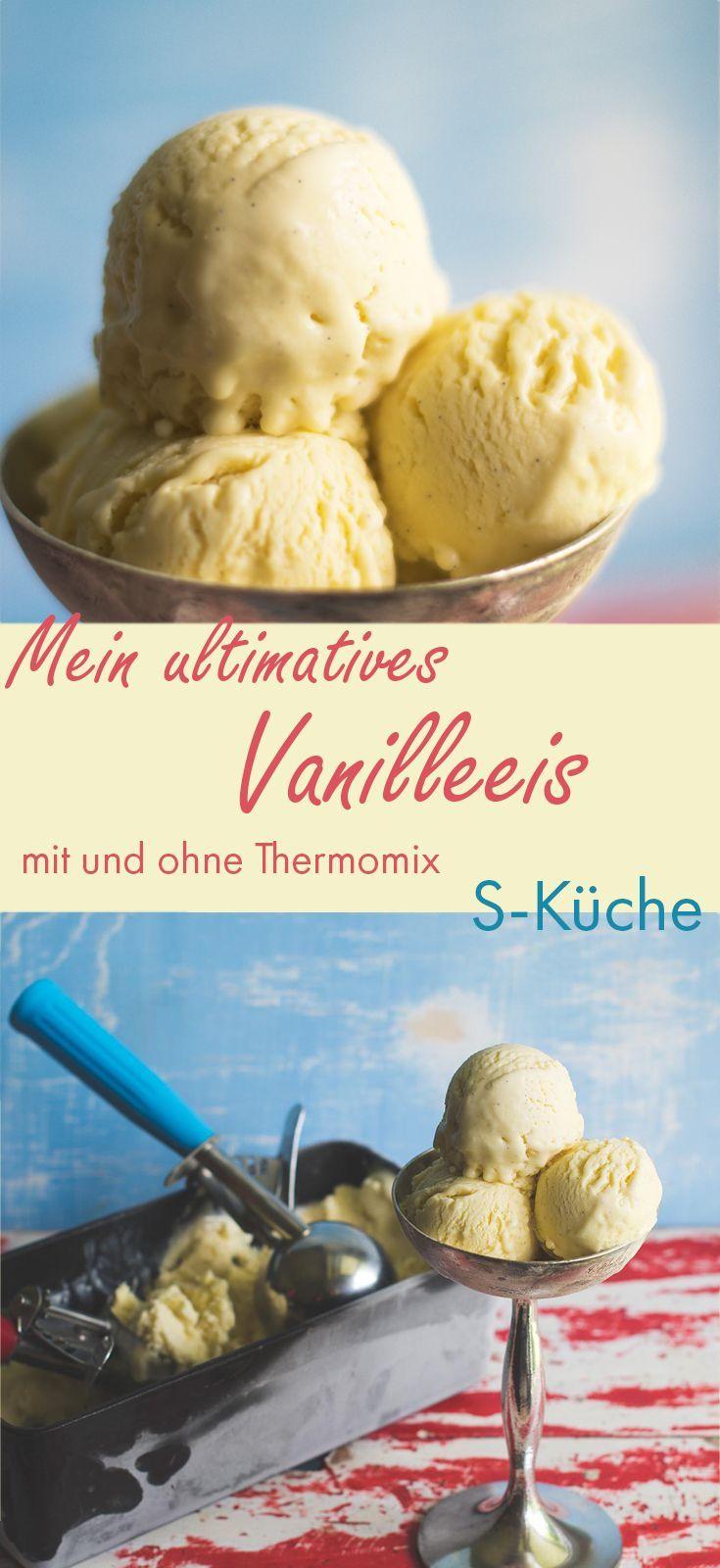 Vanilleeis - klassische Zubereitung mit Milch,  Sahne und Ei und unvergleichlich cremig durch  Verwendung von Traubenzucker