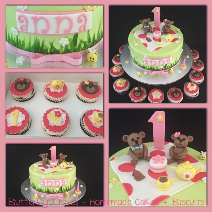 Teddy Bear's picnic cake and cupcakes