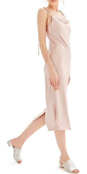 bride cowl neck midi dress by Topshop. Radiant satin skims the figure in this romantic, pastel slipdress that brings attention up to the face and shoulders ...