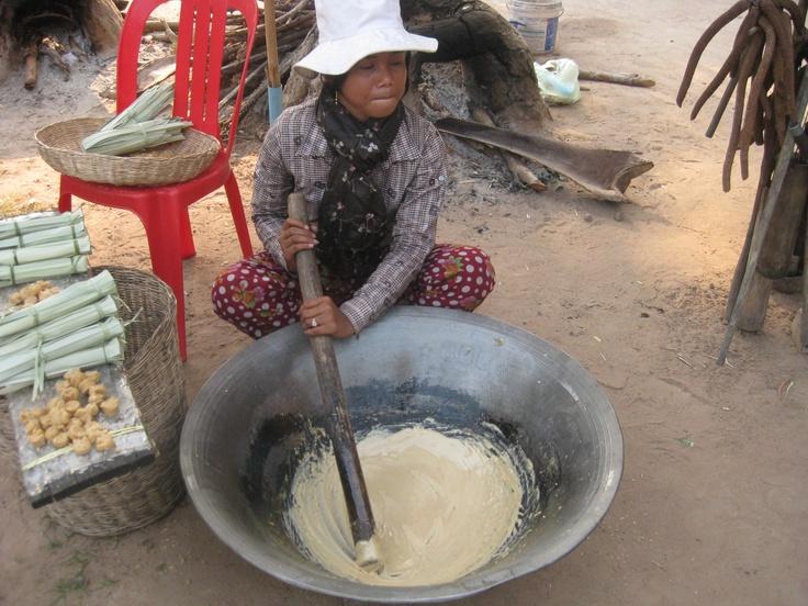 Making palm sugar, outside Siem Reap, Cambodia.