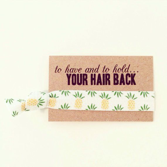 Tropical Bachelorette Party Ideas ; Bachelorette Hair Tie ; Tropical Party Décor ; Summer Party Ideas