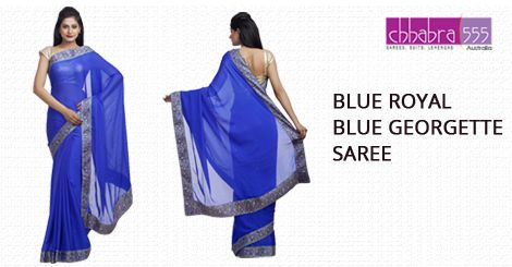 Blue Royal Blue Georgette Saree in @ $128.95 AUD from collections of over 4000 unique products - design, colour and fabric scheme of ‪Chhabra555‬ in ‪Australia‬.