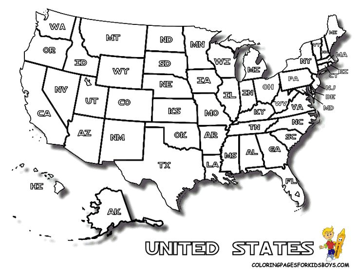 Map Of United States To Print For Kids Letter Enclosures
