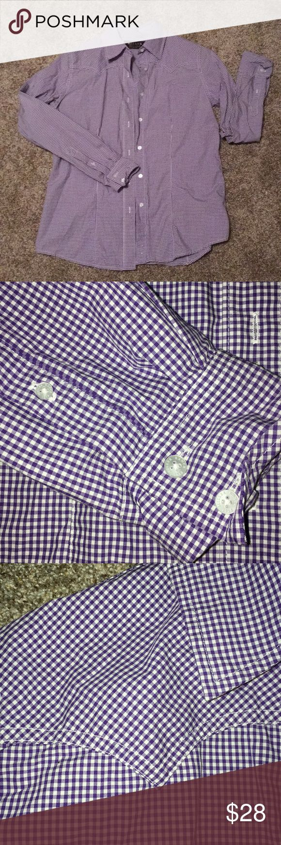 "Miller Ranch Denver Colorado purple plaid shirt Excellent used condition. Miller Ranch western style women's shirt purple and white. Tailored fit button up with western look. Originally $74.99. Super cute with jeans and boots. Underarms across almost 20"" shoulder to bottom 26"" sleeves 25"" Miller Ranch Tops Button Down Shirts"