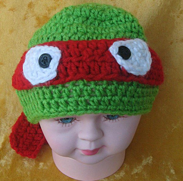 """Baby Ninja Turtle Hat, crocheted in spring green with red mask (Newborn-3 mos 14""""-15"""") #0005"""