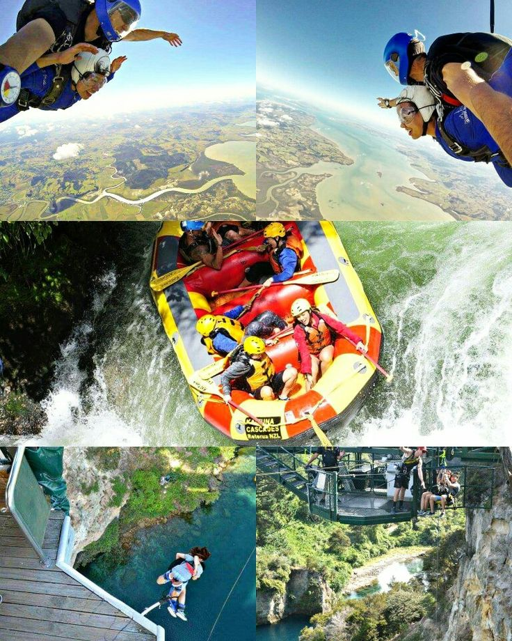 """DAY 5  is a """"high5 day to my adrenaline junkie partner!"""" #loveyourspousechallenge   🌊 7 meter waterfall drop at Kaituna  🙈 44 meter extreme swing at 144 ft above majestic WaikatoRiver  🚧 47 meter bungy at TaupoCliffhanger  ⛅ & to the BIG JUMP - 13,000 feet skydive at Auckland  No matter how high or low it is to the ground; We're both IN this together! Cheers to more first time adventures and heart pumping fear falls to come! I love youuuu muchooo!"""