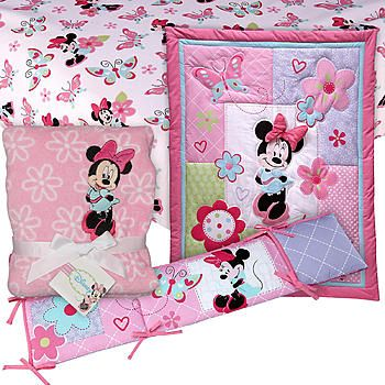 Baby Minnie Mouse Bedding Set | Minnie Mouse 4 PC. Crib Set with Sheet & Blanket Baby Bundle