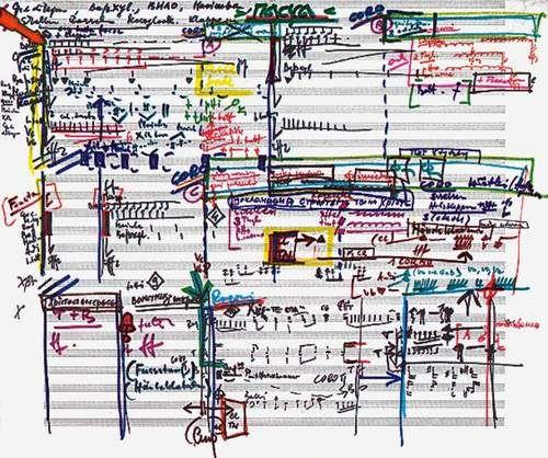 Krzysztof Penderecki - Skizzenmappe - Skizze zur Oper `Die schwarze Maske` / Skizze zu