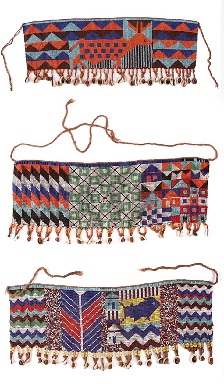 Africa | Women aprons (cache-sexe) from the Kirdi people of Northern Cameroon | Glass beads, cowrie shells and fiber | 20th century