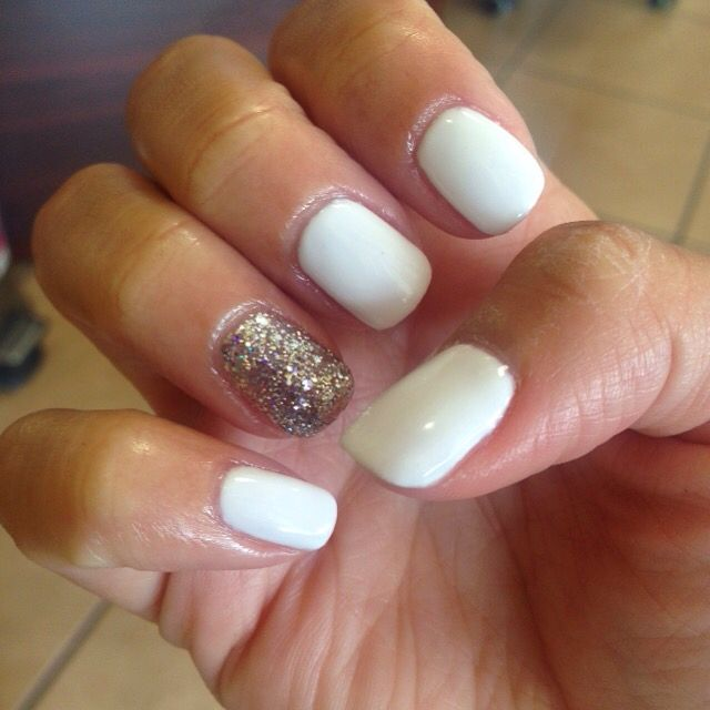 White shellac with silver glitter accent nail.