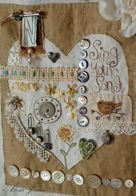 heart samplerSewing, Crazy Quilt, Heart Sampler, Buttons Crafts, Heart Art, Beautiful Places, Mixed Media, Embroidery, Stitches