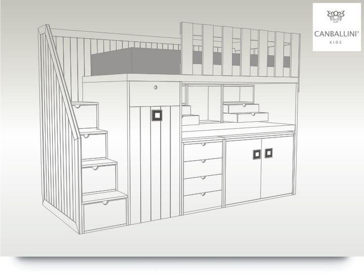 Literas con escritorio extraible para habitaciones infantiles y juveniles literas con dos y for Habitaciones juveniles 3 camas