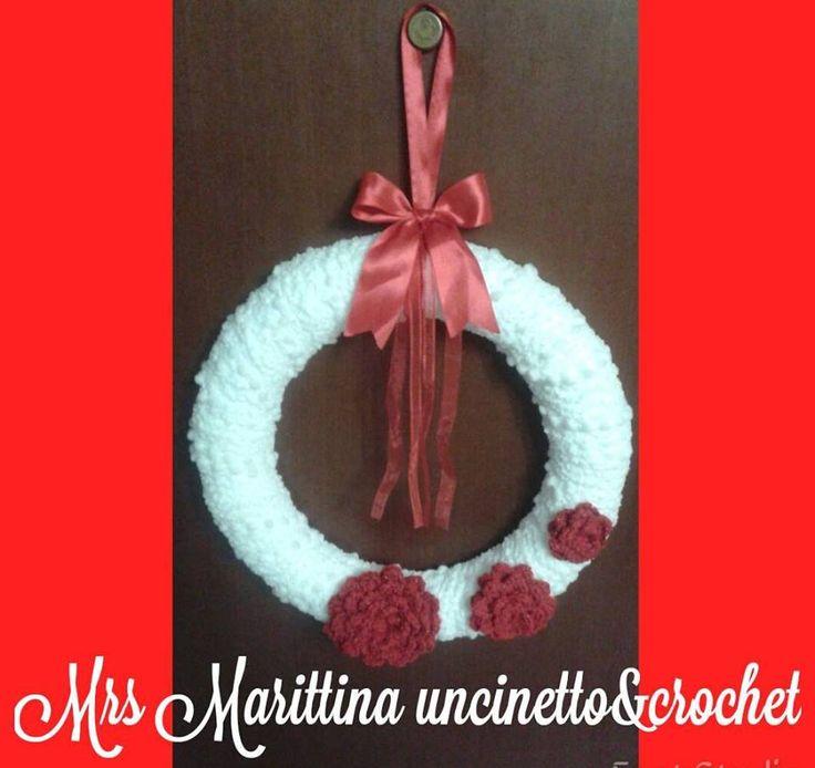 Wreath christmas crochet - Coroncina fuori porta natalizia ad uncinetto.