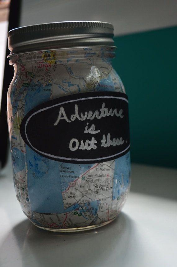 Travel Themed Mason Jar Bank by CarolineAndMay on Etsy, $10.00
