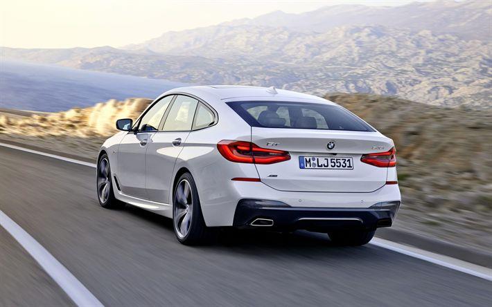 Download wallpapers BMW 6 Series, Gran Turismo, 2018, G32, Rear view, new cars, white bmw 6, Liftback, CLAR, BMW