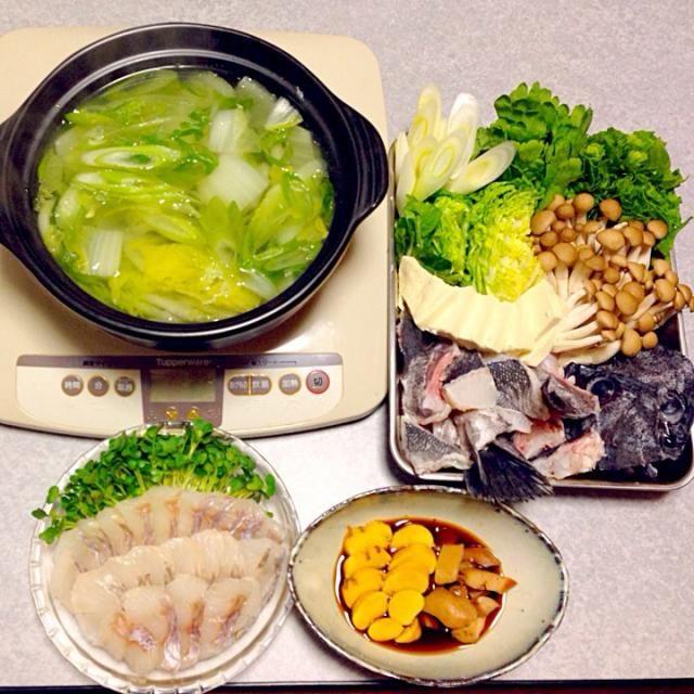 ソイ(クロソイ)の鍋、 ソイの刺身、 ソイの真子と肝 です。 - 12件のもぐもぐ - 釣れたばかりのソイの鍋 by orieueki