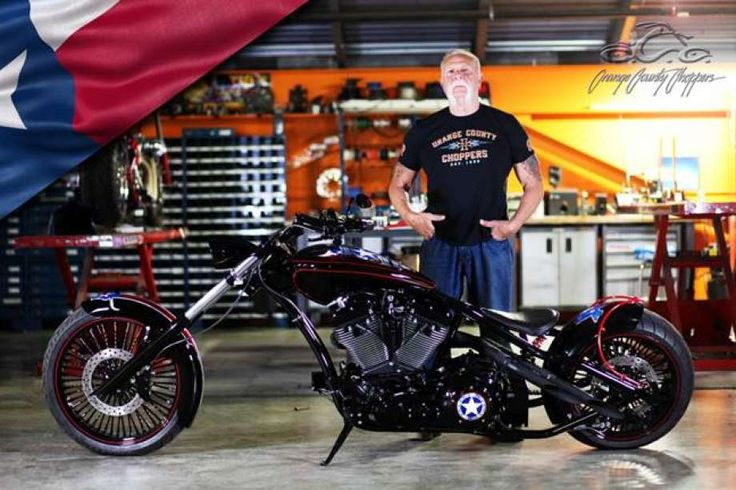 Paul Teutul Sr. of Orange County Choppers with a motorcycle he designed that will be auctioned off for Harvey relief.