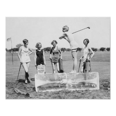 1920's Women's Golf Tee Off On ICE: Plays Golf, Historical Photo, Small Backyard, Vintage Golf, Ladies Golf, Ice Tees, Bath Suits, Vintage Photo, Golf Fashion