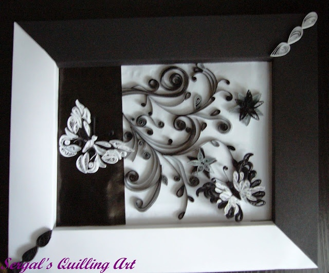 Framed quilled white black butterflies with black twirls by sergals quilling art