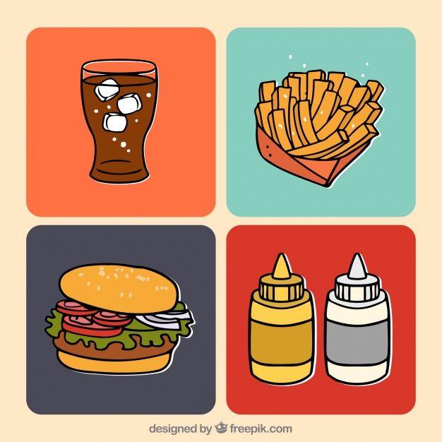 Menu de fast-food desenhado à mão Vetor grátis