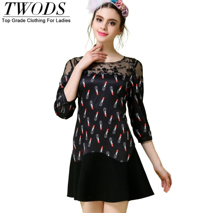 S- 5XL Lipstick Pattern Short Dress Slim Fit & Flare Three Quarter Sleeve Lace Patch O-neck Party Like it? http://www.artifashion.net/product/s-5xl-lipstick-pattern-short-dress-slim-fit-flare-three-quarter-sleeve-lace-patch-o-neck-party/ #shop #beauty #Woman's fashion #Products
