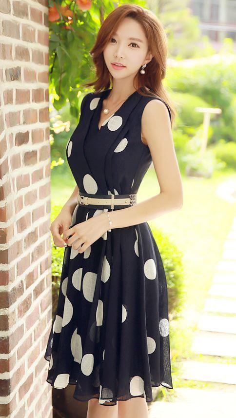 StyleOnme_Polka Dot V-neck Sleeveless Dress #polkadot #navy #dress #korean…