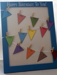 classroom birthday display. takes up way less room than a bulletin board, yet reminds you of upcoming birthdays. could even just hang the bunting on a wall. hmm. Now were talking.
