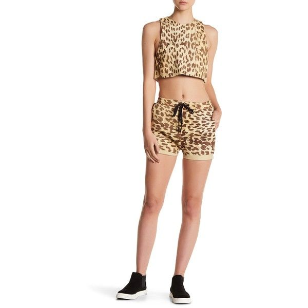 One Teaspoon Leather Jackson Cheetah Print Drawstring Shorts ($66) ❤ liked on Polyvore featuring shorts, natural, drawstring shorts, cheetah print shorts, oneteaspoon, leather shorts and cheetah shorts