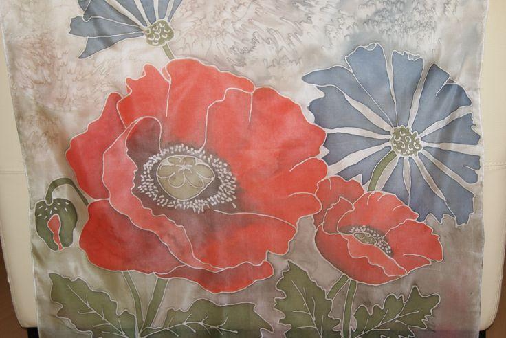 Chusta jedwabna ręcznie malowana