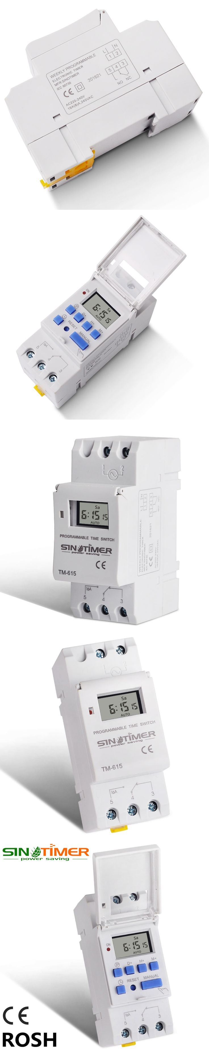 SINOTIMER Brand Microcomputer Electronic Weekly Programmable Digital TIMER SWITCH Time Relay Control 220V AC 16A Din Rail Mount